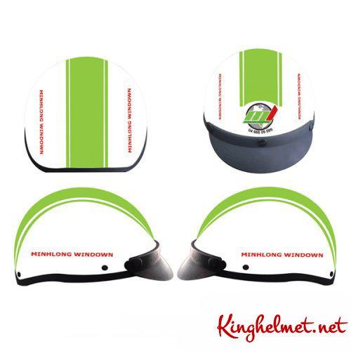 Mẫu nón bảo hiểm quảng cáo Minh Long làm quà tặng ở TPHCM xưởng sản xuất Kinghelmet