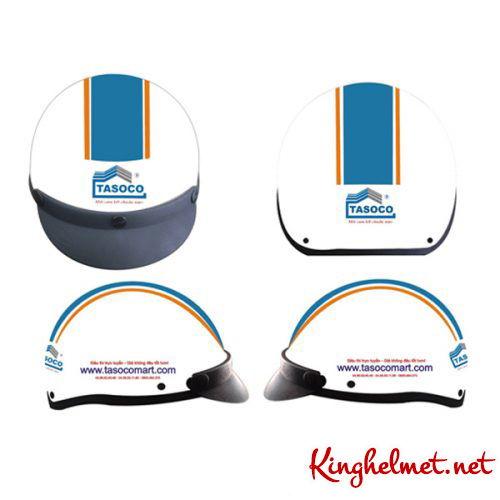 Mẫu nón bảo hiểm quảng cáo Tasoco làm quà tặng ở TPHCM xưởng sản xuất Kinghelmet
