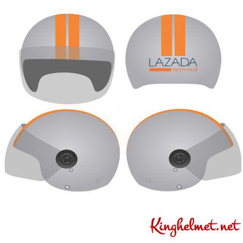 Mẫu nón bảo hiểm quảng cáo Lazada làm quà tặng ở TPHCM xưởng sản xuất Kinghelmet