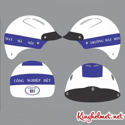 Mẫu nón bảo hiểm quảng cáo Đại Học CN Dệt làm quà tặng ở TPHCM xưởng sản xuất Kinghelmet