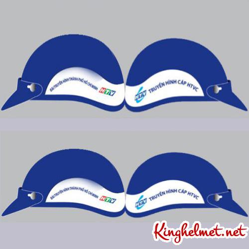 Mẫu nón bảo hiểm quảng cáo Truyền Hình HTVC làm quà tặng ở TPHCM xưởng sản xuất Kinghelmet