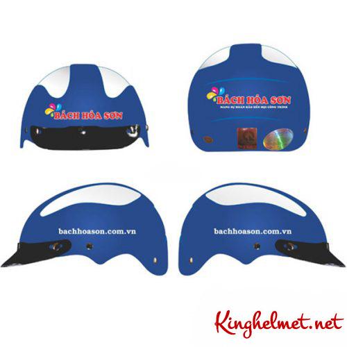 Mẫu nón bảo hiểm quảng cáo Bách Hóa Sơn làm quà tặng ở TPHCM xưởng sản xuất Kinghelmet