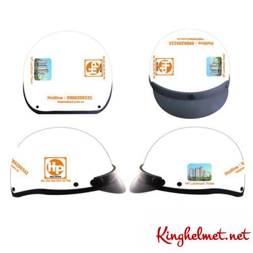 Mẫu nón bảo hiểm quảng cáo Hải Phát làm quà tặng ở TPHCM xưởng sản xuất Kinghelmet