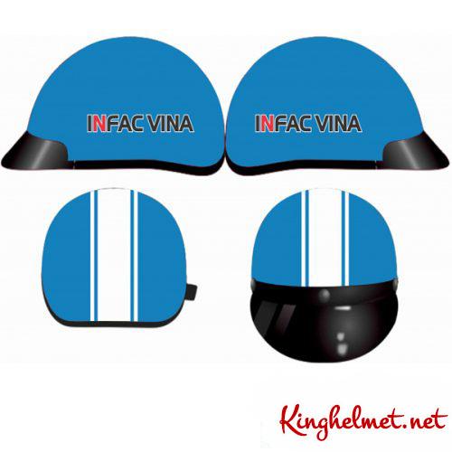 Mẫu nón bảo hiểm quảng cáo Infac Vina làm quà tặng ở TPHCM xưởng sản xuất Kinghelmet