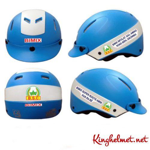 Mẫu nón bảo hiểm quảng cáo Bimix làm quà tặng ở TPHCM xưởng sản xuất Kinghelmet