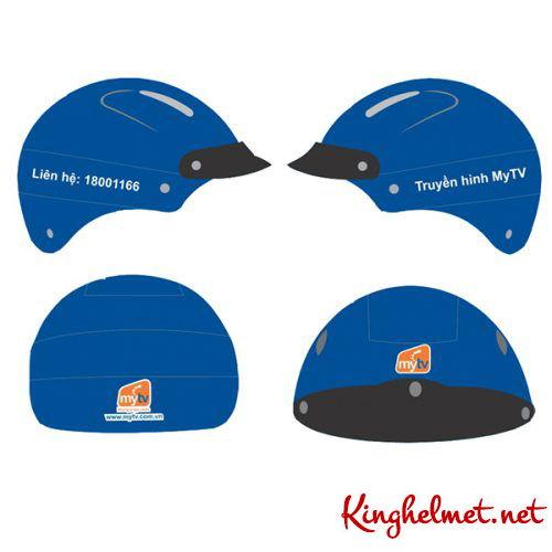 Mẫu nón bảo hiểm quảng cáo MyTV làm quà tặng ở TPHCM xưởng sản xuất Kinghelmet