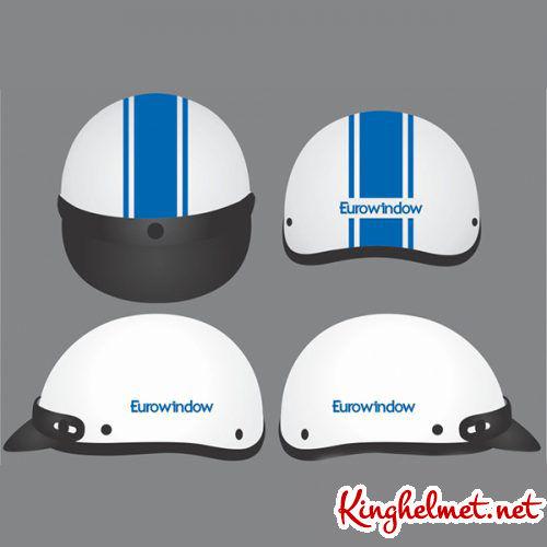 Mẫu nón bảo hiểm quảng cáo EuroWindow làm quà tặng ở TPHCM xưởng sản xuất Kinghelmet